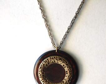 Vintage Wooden Medallion Necklace, 1970's Costume Jewelry