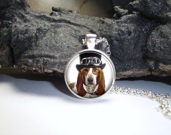 Steampunk Dog Pendant / Steampunk Dog Glass Pendant/Art Photo Bezel