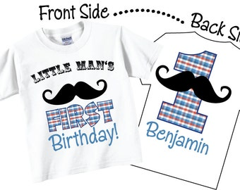 Little Man's 1st Birthday Shirts with Mustache in Red and Blue Tees