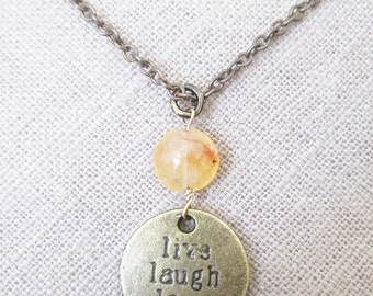 Inspirational necklace, Boho chic brass love pendant necklace with agate stone, unique Laugh quote necklace, Motivational quotes jewelry