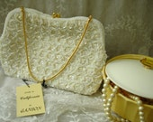 Vintage White Seqiun Beaded Evening Handbag by Ganson New Old Stock with Tags