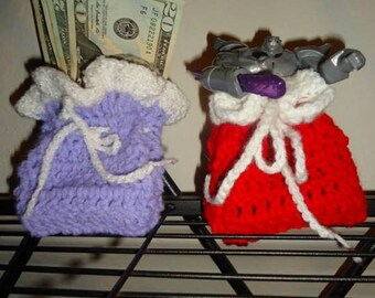 Small Hand Crocheted Gift Bags in Custom Colors