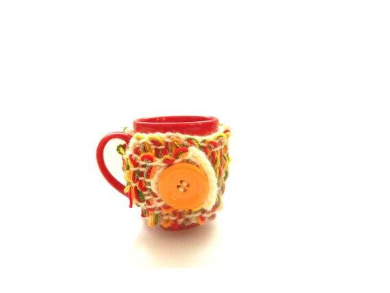Pippi's OOAK Colorful Crochet Mug Cozy, Mug Hugger, Mug Cover up, Wrap up, Tangerine Buttoned, Christmas Gift, Unique, For Her, For Him
