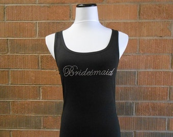 Rhinestone Bridesmaid Tank Tops. Rhinestone Bridal Party Jersey Tank Top. Bride, Maid of Honor, Matron of Honor. Wedding Bridal Party Tanks.