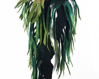 Green Scarf Felted Scarf  Nunofelt Scarf JUNGLE with Brooch Long Wrap Scarves wearable art Felt jade olive Nuno felt shawl Fiber Art