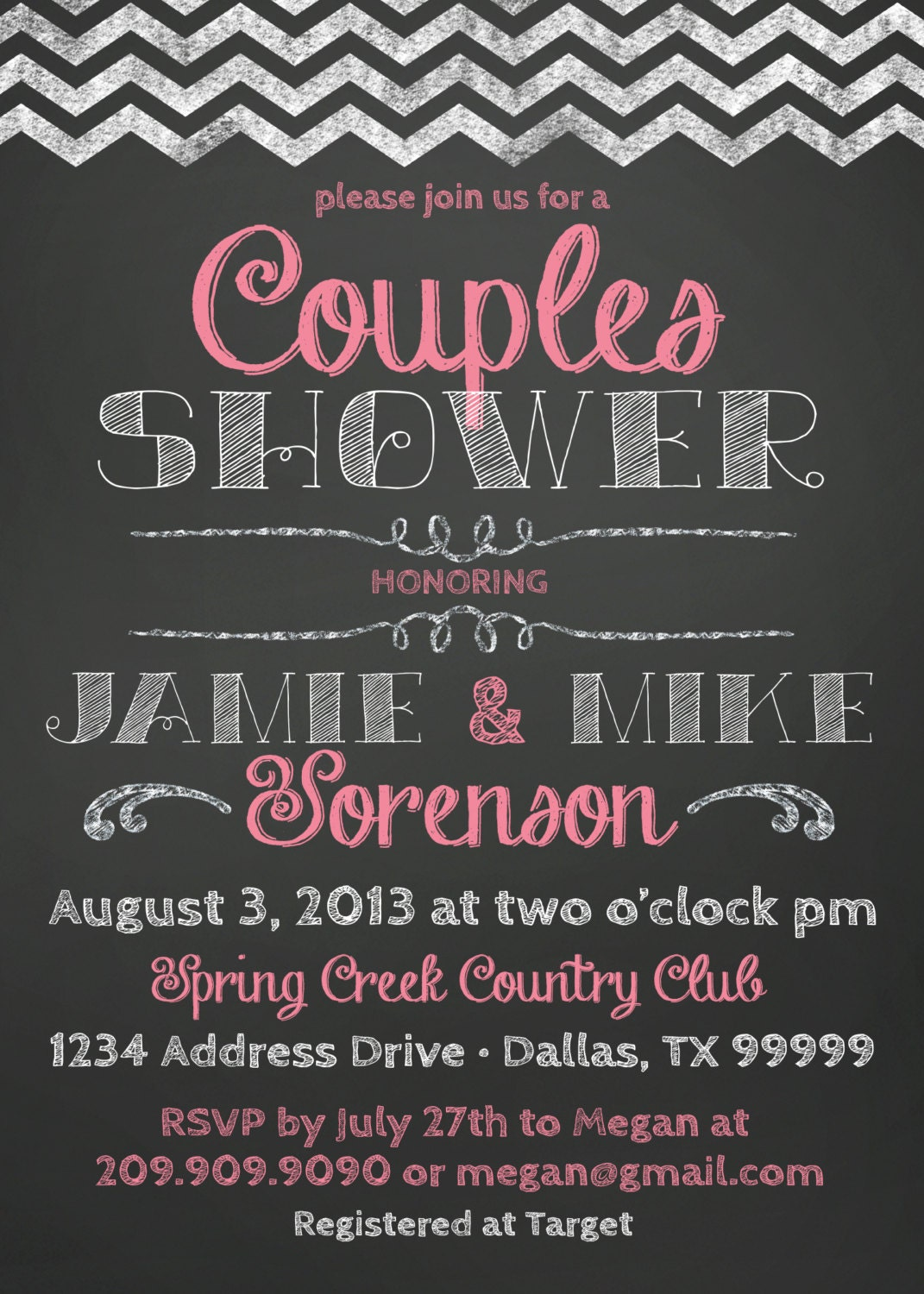 couples baby or bridal shower invitation