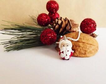Polymer Clay Santa Christmas Necklace