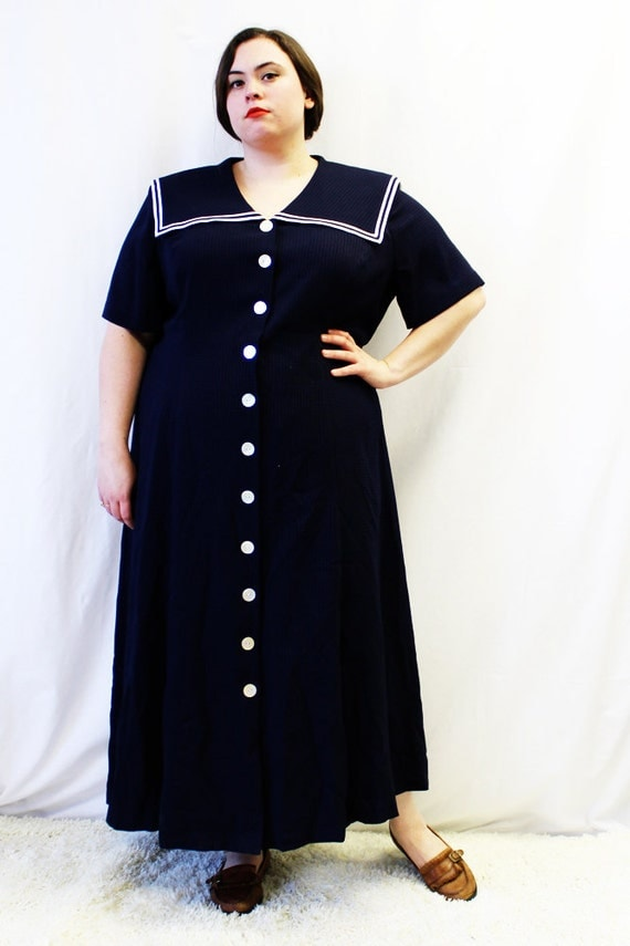 Plus Size Vintage Navy & White Sailor Maxi Dress Size 24W