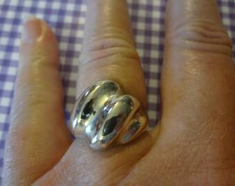 Silver Ring Dome of Swirl 925 Sterling Wonderful Designer Gift Birthday Anniversary