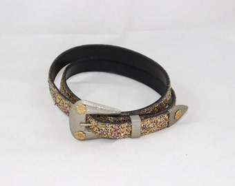 Glitter Sequin Womens New Years Party Belt  Rainbow Dancing 28 34 inches