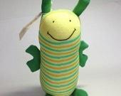 Australian sock animal, sock bee, soft plush toy. Softie. Buzz Bee.