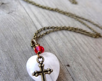Bronze Love Heart Pale Pink Rose Quartz Necklace with Cross Red Crystal Accents Christian Religious Jewelry