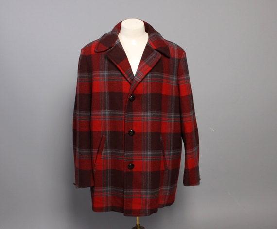 c2c3f2377ec45 Vintage Wool Hunting Jacket / 1960s Woolrich Wool By · Wool Hunting Jacket:  60s Men's PENDLETON COAT / Red PLAID Wool Hunting Jacket