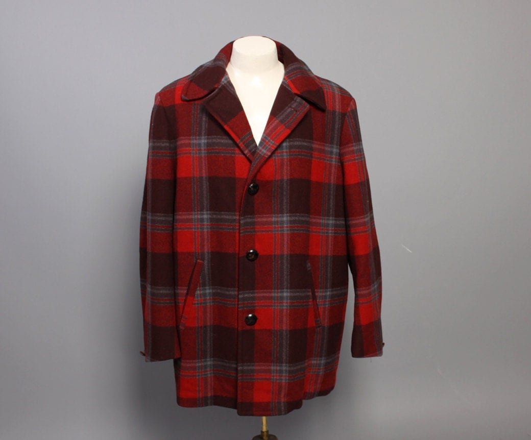 60s Men S Pendleton Coat Red Plaid Wool By Toughluckvintage