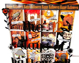 Halloween Printers Tray Shadowbox Twelve Days of Halloween Mixed Media Assemblage
