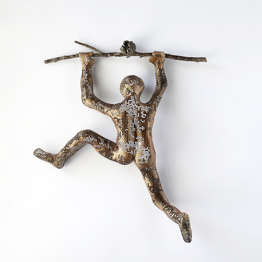 Metal wall art climbing man sculpture on tree branch wire for Bronze wall art