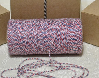 25 yards Bakers twine red white blue airmail 4ply cotton for tags packaging scrapbooking cards banners