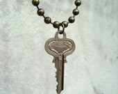 Vintage Key Necklace - Art Deco Key Jewelry - Silver And Brass - Chunky Hardware Necklace
