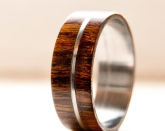 mens wedding band wood w metal inlay wedding ring staghead designs - Wood Wedding Ring