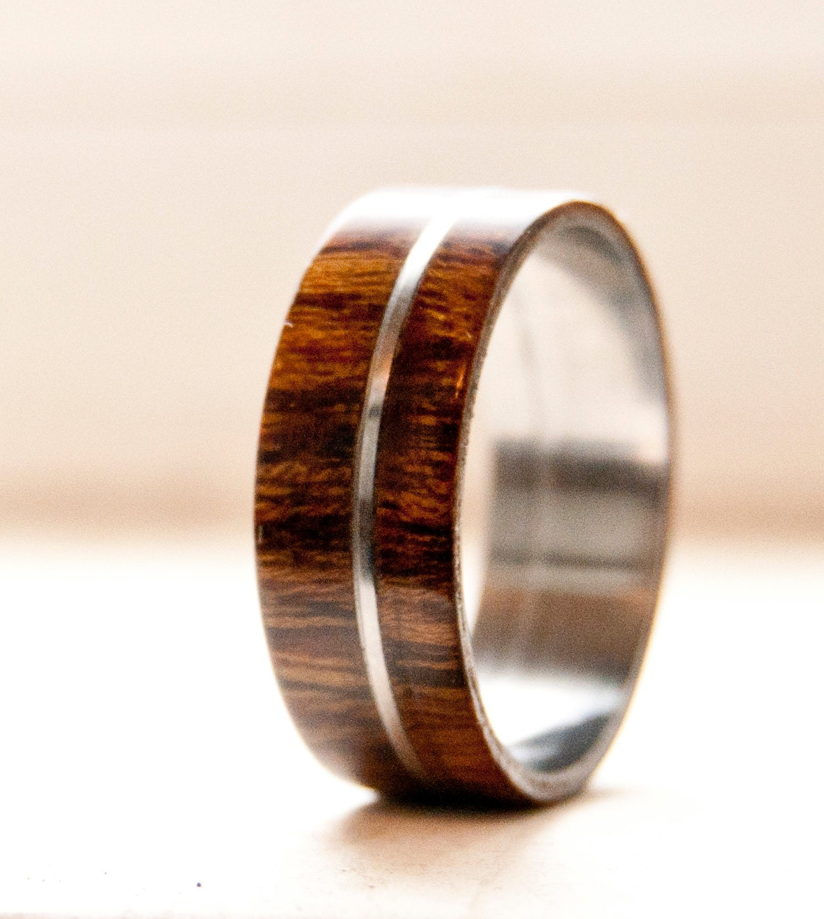 Wood Mens Wedding Bands: Mens Wedding Band Wood W/ Metal Inlay Wedding Ring Staghead