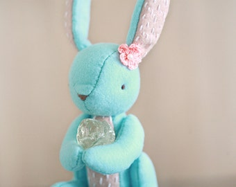 Bunny Plush Friend - Home Decor - Healing Bunny - Quartz  Embroidery Bunny - Ready to ship