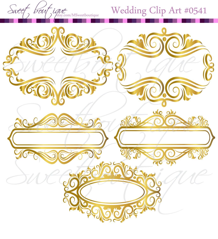GOLD Floral Frame Ornaments Decoration Graphics Border Vintage