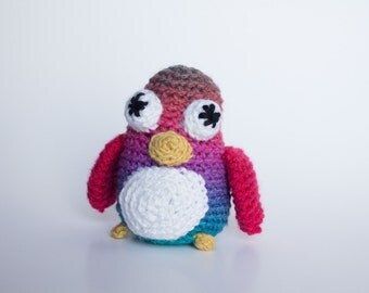 Crocheted Penguin - Pink, Purple and Turquoise, Amigurumi Stuffed Animal Penguin - Perfect for Babies and Toddlers - Fun Stocking Stuffer