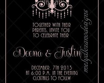 Black & Pink Elegant Wedding Invitation