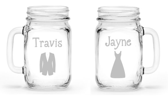 Set of 2 Bride and Groom Mr. and Mrs. Custom Etched Handled Mason Jar To Go Cups 16oz Eco Friendly
