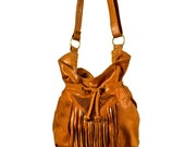 MIKAT Designer Handmade Genuine Snakeskin Leather Handbag Bucket Hip Drawstring Bag