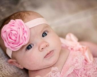 U PICK Satin Rose Headband, Baby Headband, Pink headband, hair bow, baby bow rosette