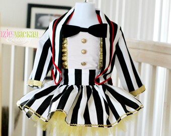 Boutique Custom Handmade Ringmaster Dress 4 piece Birthday set, Costume, Photography, Pageant Dress Size 2t-5t