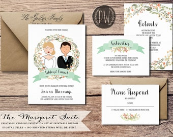 Custom Illustration Printable Wedding Invitation Suite wedding invite whimsical couple drawing, rustic wedding DIY digital invitation set