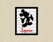 Mickey Mouse Chevron Custom Name Printable Wall Art