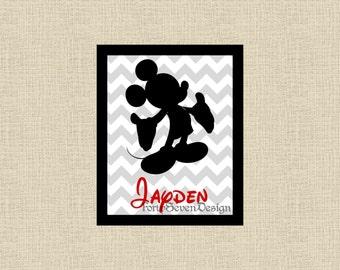Mickey Mouse Chevron Custom Name Printable Wall Art