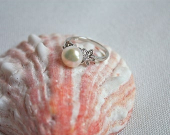 Thin White Pearl Ring, Sterling Silver floral ring, bridesmaid jewelry, gift ideas for her