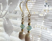 Pearl and Swarovski Crystal Drop, Dangle Earrings with Gold for Spring, Summer, Easter, Mother's Day, Weddings' Gifts for Her