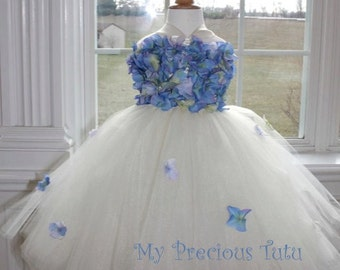 Blue Hydrangea Dress, Blue Hydrangea Tutu Dress, Ivory & Blue Flower Girl Dress, Ivory Dress with Blue Hydrangea Petals by My Precious Tutu