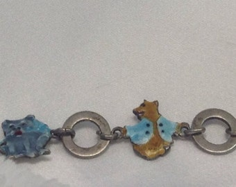 Child,s bracelet in Sterling with Enameled Bunny Rabbit, Teddy Bear, Duck, and a Kitty story Book bracelet