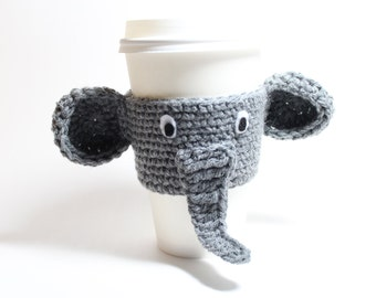 Coffee Cozy Elephant, Coffee Sleeve, Crochet Animal Can Wrapper, Java Jacket, Travel Drink Cup Holder