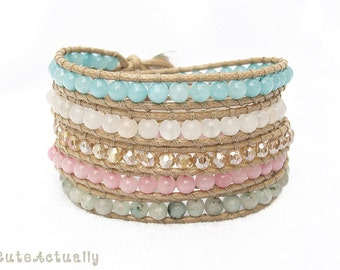 Stone wrap bracelet with crystal on polyester cord, pink green blue, sweet, summer