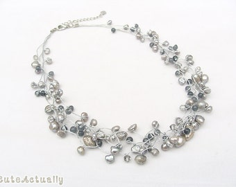 Silver gray freshwater pearl stone necklace with crystal on silk thread
