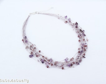 Amethyst stone necklace with crystal on silk thread, purple necklace, multistrands
