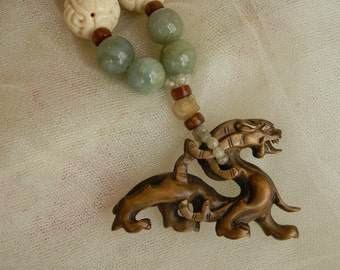 Netsuke dragon pendant w aquamarine beads necklace , beaded jewelry , large Japanese Ironwood Netsuke dragon , one of a kind unusual jewelry