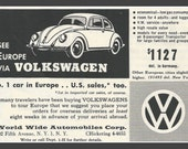 Fridge Magnet vintage 1956 Volkswagen Beetle advertisement with price of VW bug