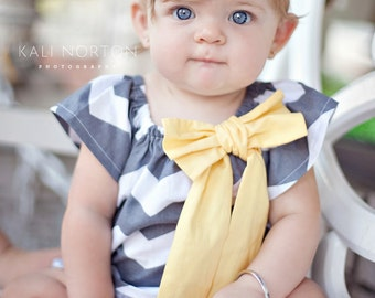 Gray and Yellow Chevron Peasant Dress - Baby Girl