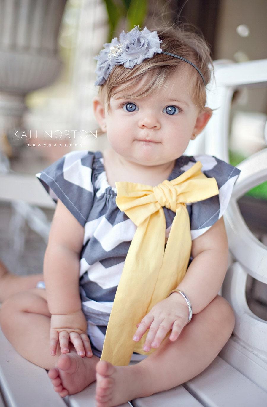 Gray and Yellow Chevron Peasant Dress Baby Girl