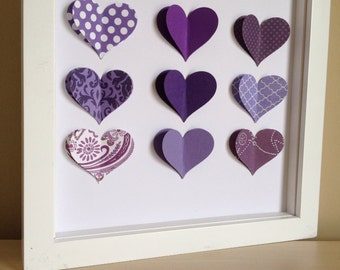 Purple Heart, 3D Paper Art - perfect for a new baby or little girl's room