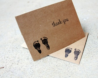 Baby feet Thank You Card set, Kraft baby shower Thank You, New Baby Kraft Thank You Card, New Parent Thank You Card, New Baby Thank You Set