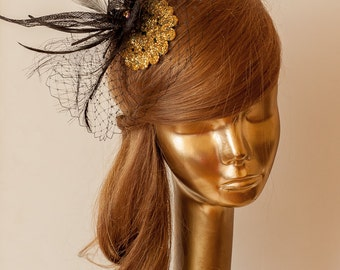 Unique BLACK FASCINATOR with Gold Beads and FEATHERS. Black mini Hat